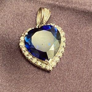 Sapphire 14K Diamond Heart Necklace Charm, Zales
